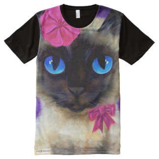 Siamese Cat All-Over Printed Panel T-Shirt