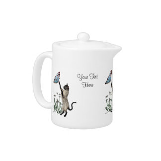 Siamese Cat And Butterfly Personalized Teapot