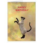 Siamese cat and Happy Birthday Card