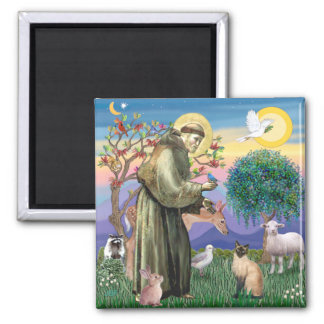 Siamese Cat and St Francis 2 Inch Square Magnet