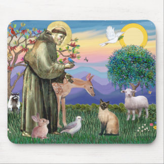 Siamese Cat and St Francis Mouse Pad