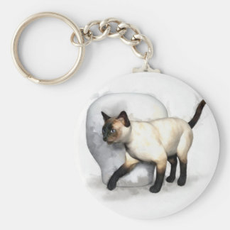 Siamese Cat and Vase Portrait Key Chain