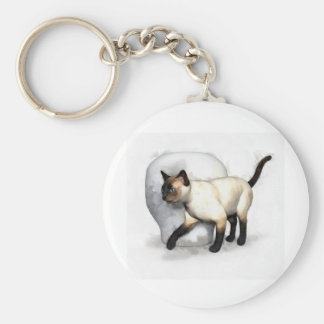 Siamese Cat and Vase Portrait Keychain