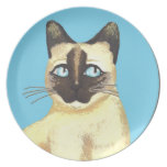 Siamese Cat Art Blue Plate