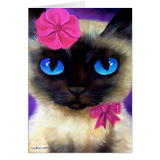 Siamese Cat Art Card Greeting Cards