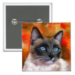 Siamese Cat Art Fire and Ice painting Pinback Buttons