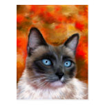 Siamese Cat Art Fire and Ice painting Post Card