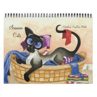 Siamese Cat Artwork by AmyLyn Bihrle Calendar