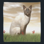 """Siamese cat bandana<br><div class=""""desc"""">Siamese cat sitting quietly in the grass by sunset</div>"""