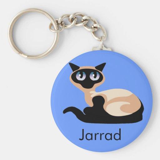 Siamese Cat Basic Round Button Keychain