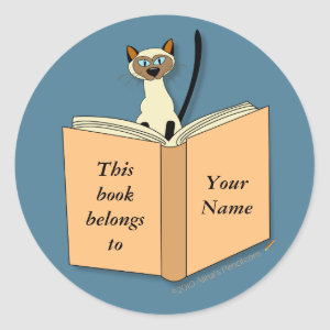 Siamese Cat Bookplate Template sticker