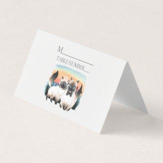 Siamese Cat Bride Groom Cute Wedding Place Card