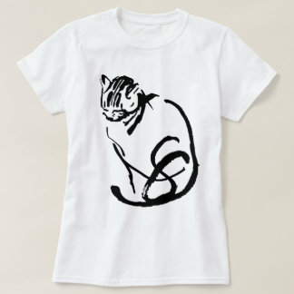 Siamese Cat Brush Drawing Design T-Shirt