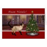 Siamese Cat - Buon Natale- Italian Christmas Card