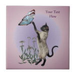 Siamese Cat Butterfly And Daisies Ceramic Tile