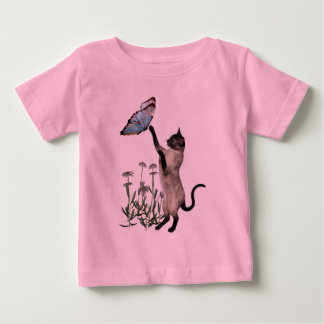 Siamese Cat Butterfly Daisies Infant Shirt