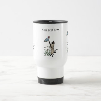 Siamese Cat Butterfly Daisies Travel Mug