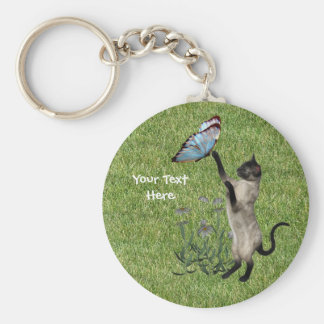 Siamese Cat Butterfly Keychain