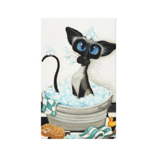 Siamese Cat by BihrLe Bath Canvas Art Print