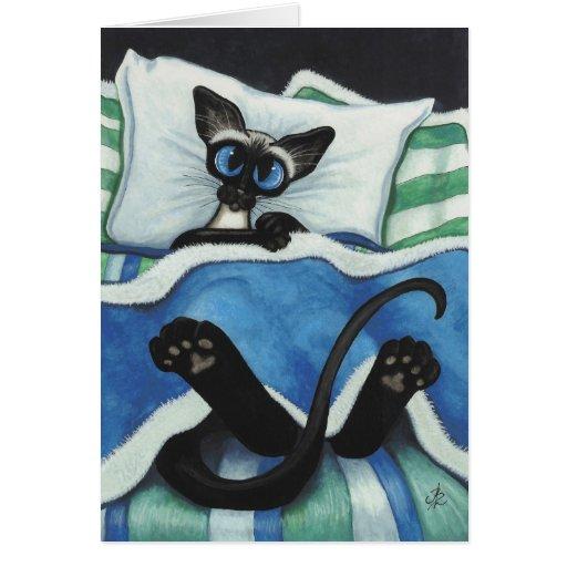 Siamese Cat by BiHrle Blank Card
