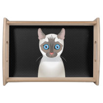 Siamese Cat Cartoon Paws Serving Tray