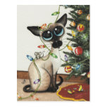 Siamese Cat Christmas Lights By AmyLyn Bihrle Postcard