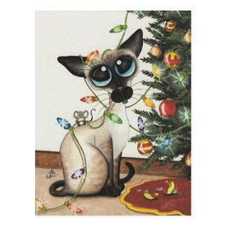 Siamese Cat Christmas Lights By AmyLyn Bihrle Post Card