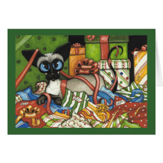 Siamese Cat Christmas Ribbon by Bihrle Card