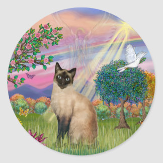 Siamese Cat - Cloud Angel Classic Round Sticker