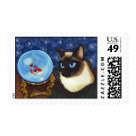 Siamese Cat Crystal Ball Koi Fortune Fantasy Cat A Stamp
