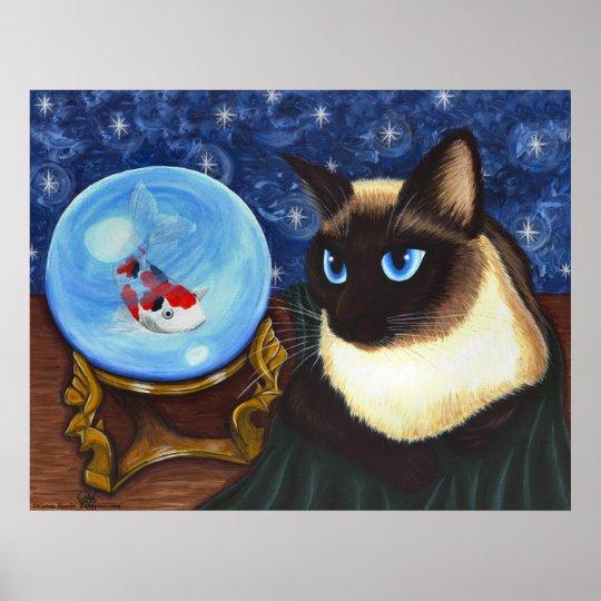 Siamese Cat Crystal Ball Koi Fortune Fantasy Print