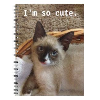 Siamese cat cute spiral notebooks