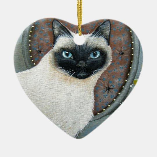 Siamese Cat Design Ceramic Ornament