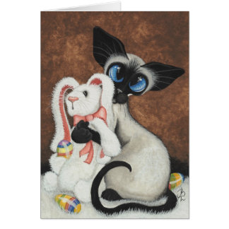 Siamese Cat Easter Bunny by Bihrle Card