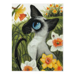 Siamese Cat Easter Spring Daffodils by BiHrLe Postcard