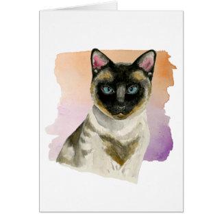 Siamese Cat Elegant Watercolor Painting Card