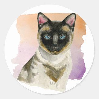 Siamese Cat Elegant Watercolor Painting Classic Round Sticker