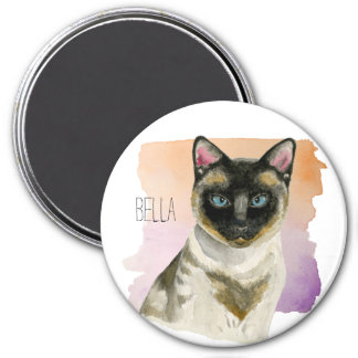Siamese Cat Elegant Watercolor Painting Magnet