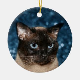 Siamese cat face ceramic ornament