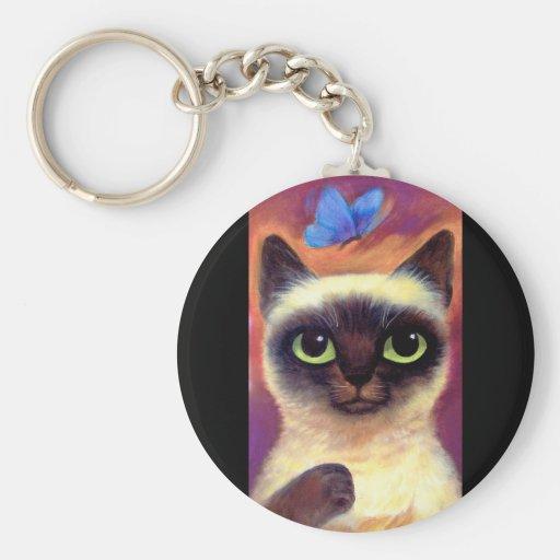 Siamese Cat Feline Butterfly Art - Multi Basic Round Button Keychain