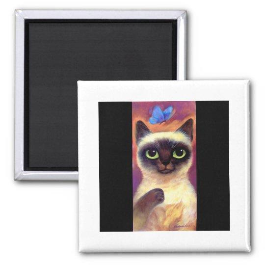 Siamese Cat Feline Butterfly Art - Multi Magnet