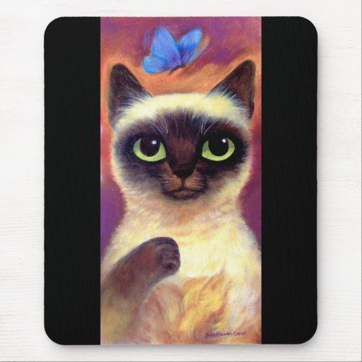 Siamese Cat Feline Butterfly Art - Multi Mouse Mat