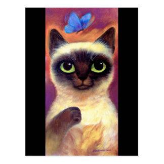 Siamese Cat Feline Butterfly Art - Multi Postcard