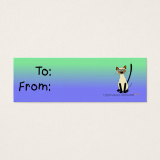 Siamese Cat Gift Tag (Green and Blue)