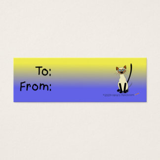Siamese Cat Gift Tag (Yellow and Blue)