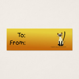 Siamese Cat Gift Tag (Yellow and Brown)