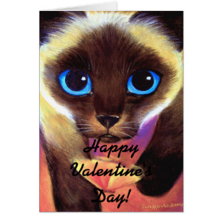 Siamese Cat Happy Valentine's Day! Greeting Card