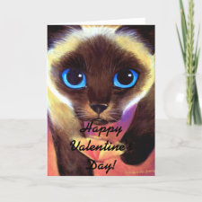 Siamese Cat Happy Valentine's Day! Holiday Card