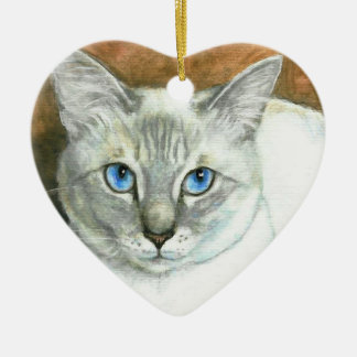 Siamese Cat Heart Christmas Ornament