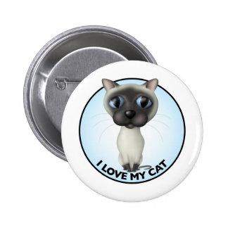 Siamese Cat - I Love My Cat Pinback Buttons